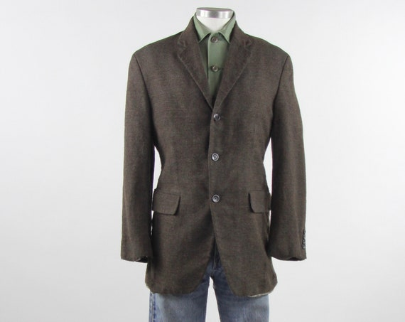 Oscar de la Renta Men's 3 Button Blazer Brown Wool Sports Coat Men's Vintage Size Medium