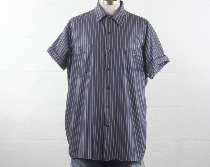 Men's Short Sleeve Striped Button Down Shirt Vintage Size Large XL