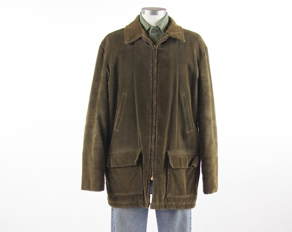 1960's Dark Green Corduroy Chore Coat Zip Up Winter Men's Jacket Vintage Size 42 Large