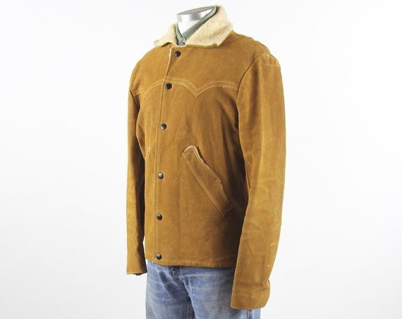 "60's Suede Leather Jacket ""Jo-O-Kay"" Sherpa Lined Snap Button Men's Brown Vintage Western Farm Work Coat Size Medium"