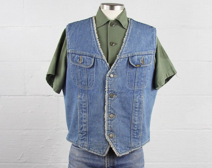 Lee Rider 70's Denim Vest Sherpa Lined Button Up Jean Vest Vintage Size Medium Large Made in the USA