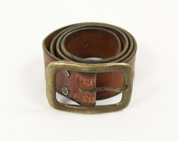 70's Brown Leather Belt with Brass Buckle