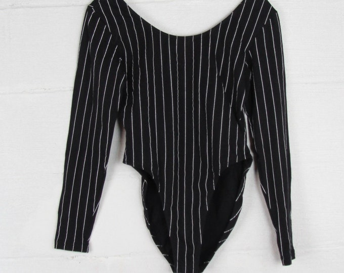 80s Long Sleeve Striped Leotard High Cut Pin Striped Black and White One Piece Unitard