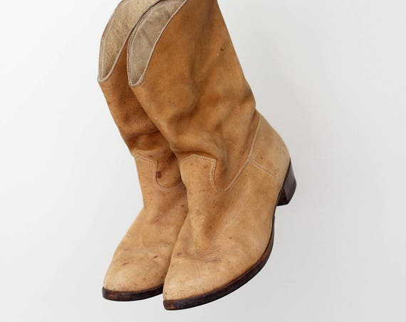 Women's Suede Cowboy Boots Size 6 Leather Camel Light Brown Slip On Western Boots Size 6 Size 6.5