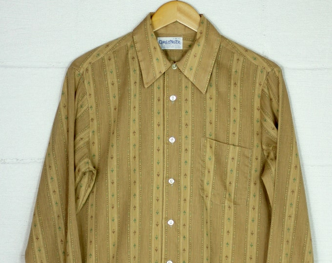Men's Striped Brown Green Patterned Button Down Dress Shirt 60s 50/50 Button Up Vintage Size Medium