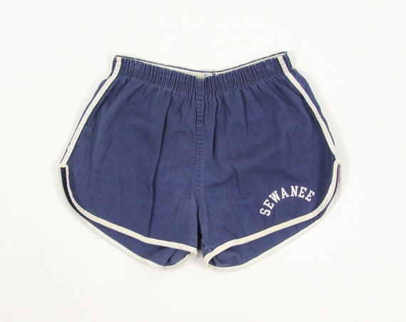 Navy Running Shorts Soft Cotton Blue Gym Short Shorts by Champion Vintage Size Small Medium