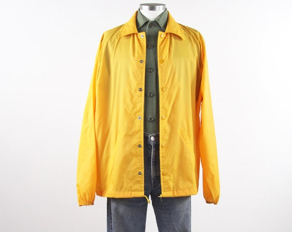 Men's Yellow Wind Breaker Coaches Track Jacket Golf Jacket Vintage Size Large