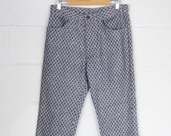 Big E Levi's Unique Patterned 70's Vintage Boot Cut Pants White Blue Plaid Diamond Jeans Size 35