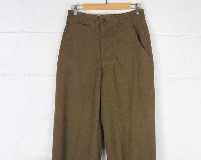 High Waisted Military Pants Men's Wool Army Trousers Vintage 29 Waist