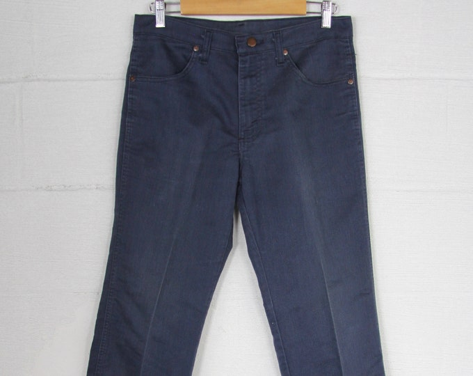 Men's Sears 70's Jeans Faded Dark Blue Cotton Work Pants Boot Cut Vintage Size 32