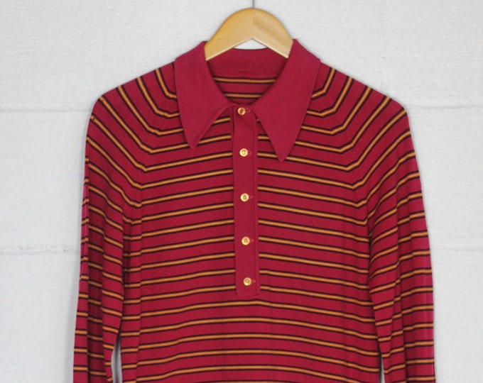 Men's 70's Red Striped Vintage Polo LongSleeve Shirt Size Medium