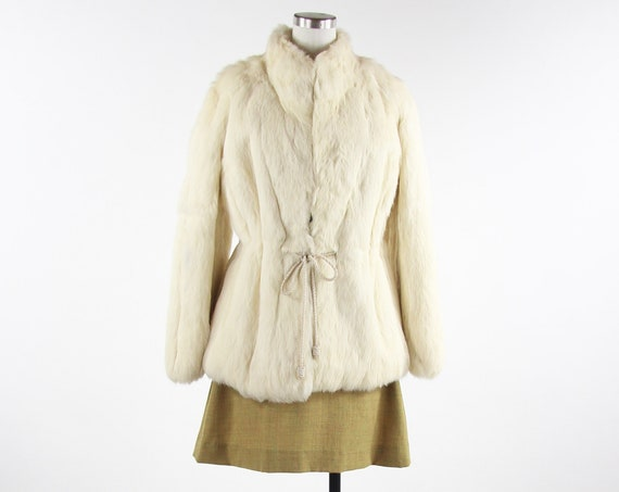 White Fur Coat Women's Vintage Size Medium