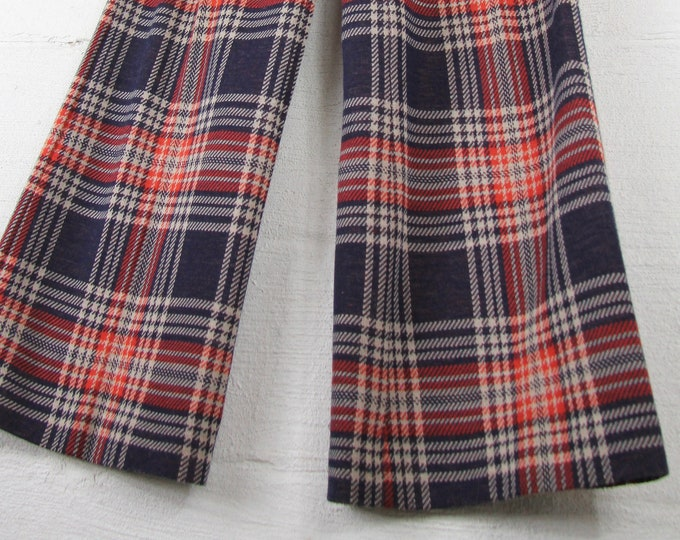 "1970s Women's Plaid Bell Bottom Pants Navy Orange and Brown 27"" Vintage Size 4 6 8"
