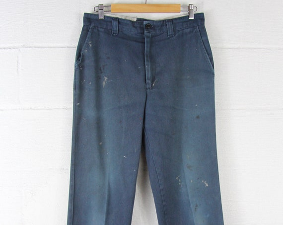 Men's Work Pants Navy Blue Distressed Grunge Painters Pants Workwear Vintage Size 32