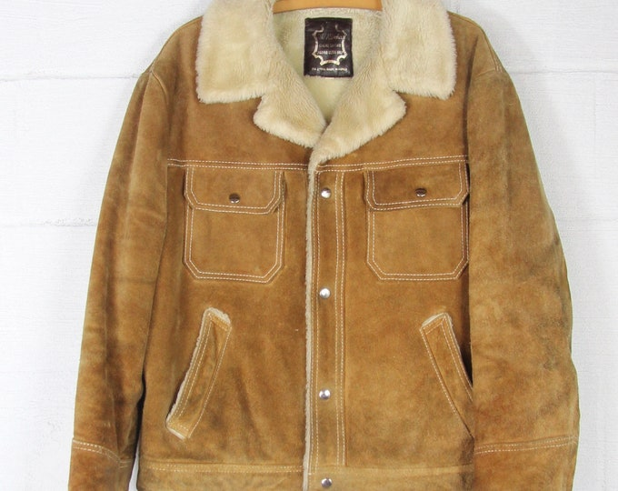 Suede Leather Jacket Lined with Sherpa Men's Vintage 70s Coat Jacket Size Large Distressed Grunge Worn In