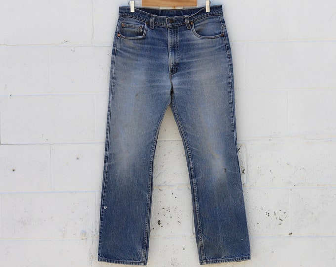 Levi's 517 Bootcut 70's Faded Distressed Denim Jeans Made in USA Size 36x32