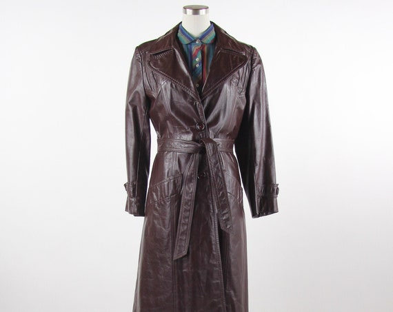 70's Women's Leather Coat Vintage Trench Coat Winter Jacket Brown Maroon Size Medium