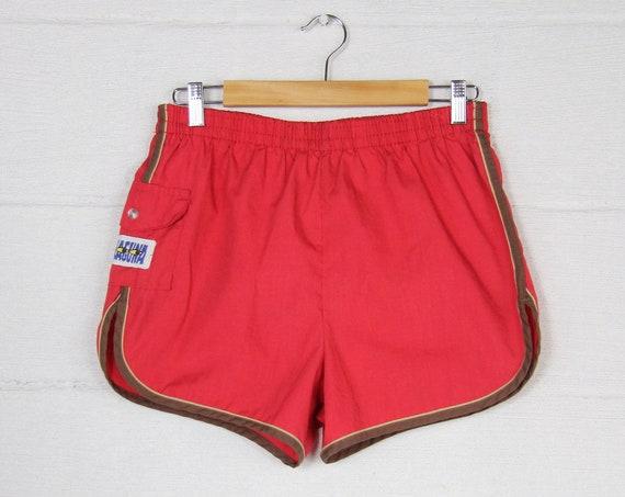80's Men's Red Laguna Swim Trunks Surf Shorts Vintage Size 28 32