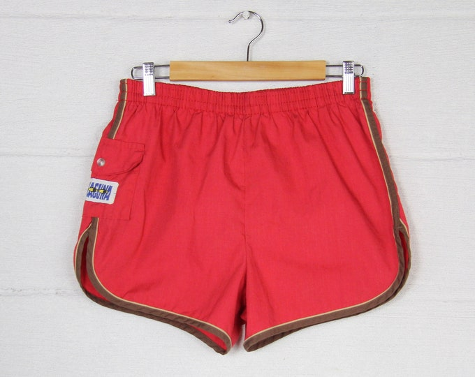 80's Men's Red Laguna Swim Trunks Surf Shorts Vintage Size 28 32