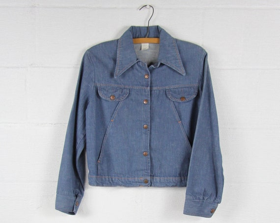 70's Denim Jean Jacket with New Mexico Buttons Vintage Size Medium