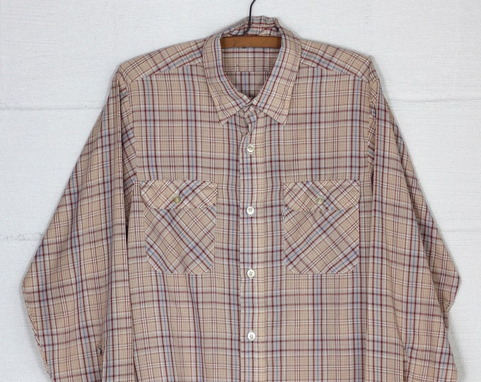 Men's Levi's White Tab 70's Long Sleeve Shirt Maroon Plaid Button Down Shirt Vintage Size Large Made in USA