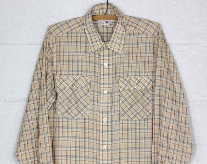 Men's Levi's Plaid Vintage Shirt Size Large White Tab Made in USA