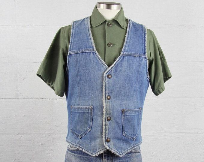 Vintage Denim Vest Faux Sherpa Lined Washed Out Soft Warm Cotton Jean Men's Size Medium M