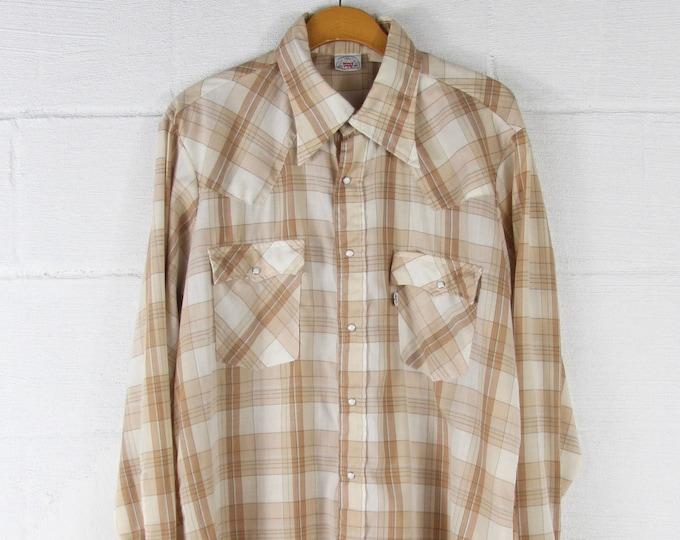 Levi's Western Cream White Khaki Vintage Button Down Long Sleeve Shirt Size Large