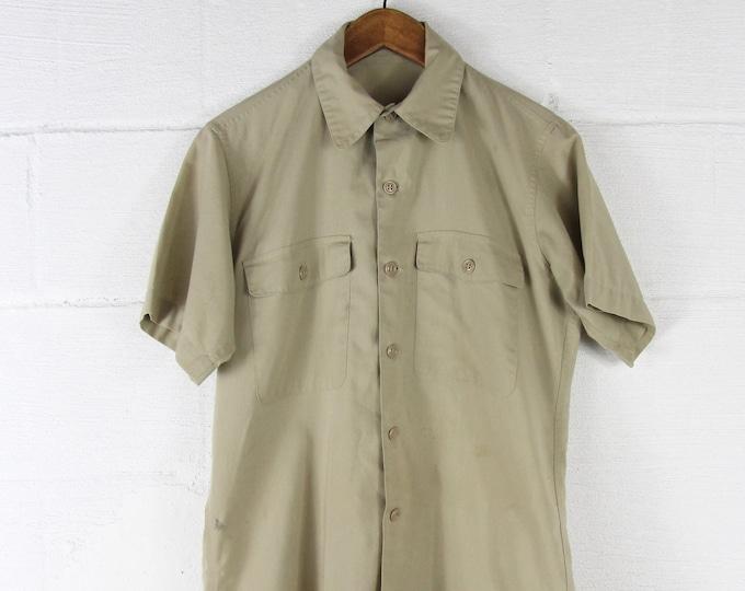 Khaki Men's Shirt Button Down Short Sleeve Work Shirt Size Medium
