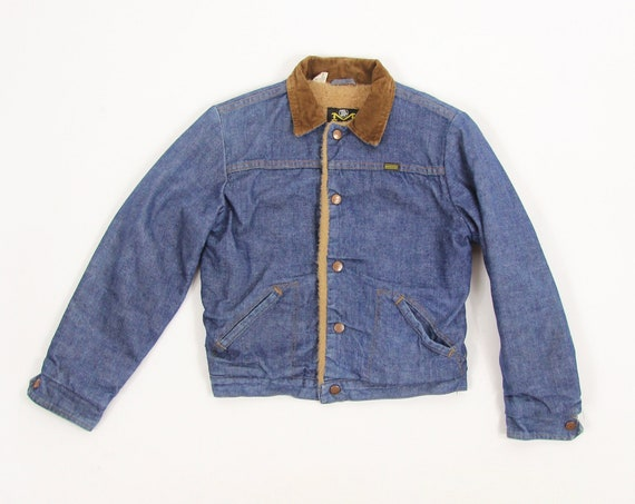 Maverick Kid's Jean Denim Jacket with Faux Sherpa Lining and Corduroy Collar Size 14