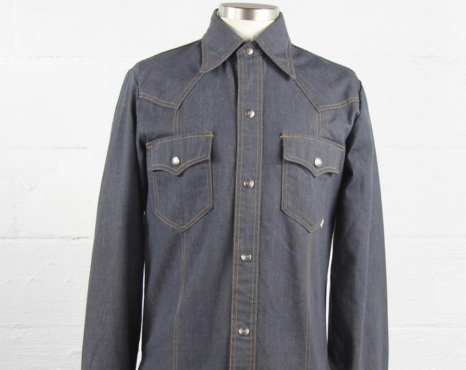 Sear's Vintage Denim Jean Jacket 70's Button Down Shirt Size Medium Large
