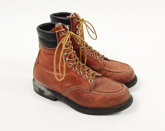 Red Wing Light Brown Vintage Boots Union Made Lace Up Hiking Work Boots Men's Size 8.5 D