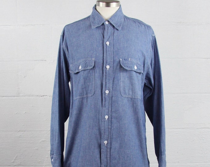 JC Penny Big Mac Chambray Cotton Button Down Shirt Vintage Size Large