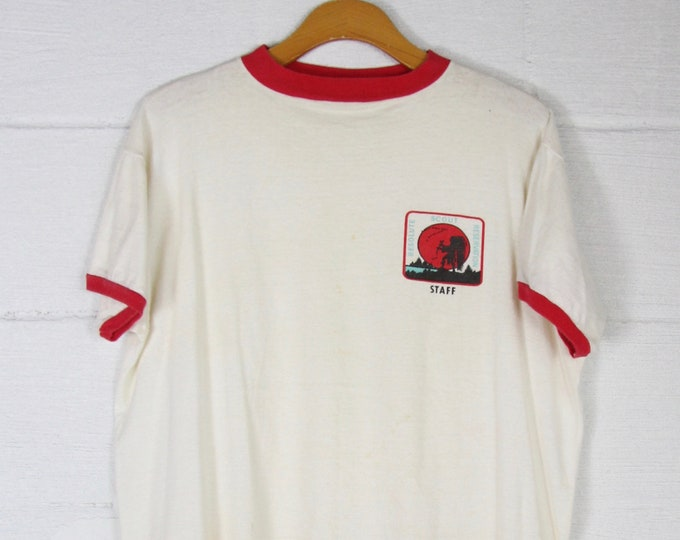 RARE Vintage Boy Scouts Reservation Staff Red and White Ringer Tee Shirt Size Medium