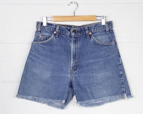 Levi's Orange Tab Jean Shorts Cutoff Jorts Medium Wash Short Shorts Vintage Size 32