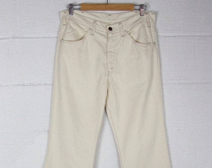 70s White Bell Bottoms Cream High Waisted 1970s Levi's White Tab Jeans