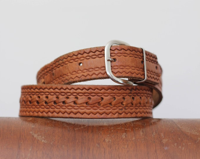 70s Leather Belt Western Woven Light Brown with Silver Belt Buckle Vintage 30 32 24