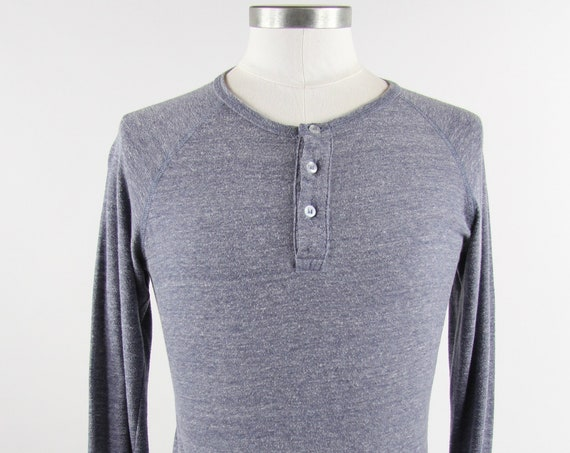Gray Henley Shirt Vintage Pullover T-shirt Long Sleeve Tee Shirt Vintage Size Small
