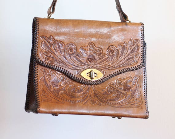 Leather Boho Hippie Purse Hand Tooled Handmade Shoulder Bag