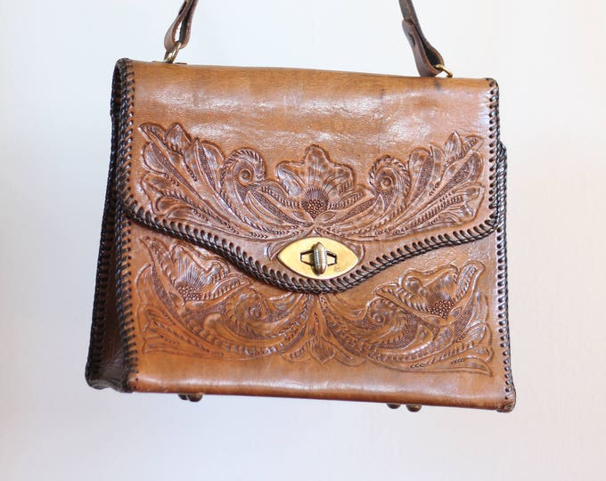 Leather Boho Hippie Purse Hand Tooled Handmade Shoulder Bag