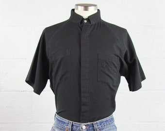 Black Vintage Clergy Shirt Priest Shirt Men's Size Large