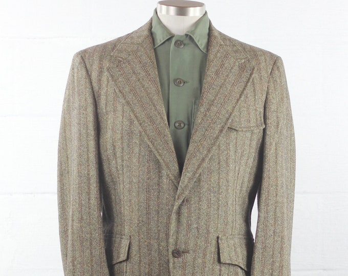 Men's Wool Blazer 70s Striped Brown Sports Coat Medium Large