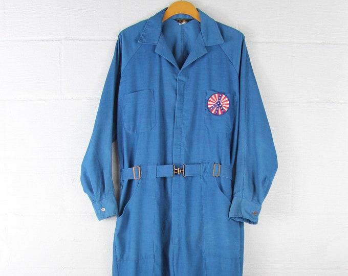 70's Corduroy Jumpsuit Blue Vintage Festival Mechanic Coveralls Size Large