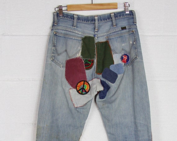 Vintage 70's Patched Wrangler Psychedelic Hippie Jeans Bell Bottoms Woodstock Festival Pants Size 30 Waist