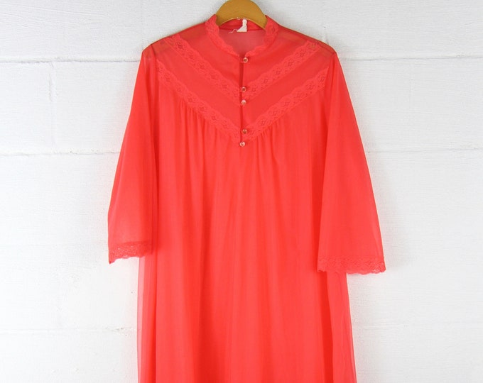 Red Flowing Night Gown Sheer Lace Trim Long Night Shirt Vintage Lingerie
