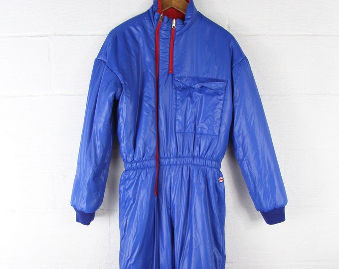 AMAZING 80's Reversible Ski Suit Red and Blue Puffer Coat Winter Bib Overalls Coveralls
