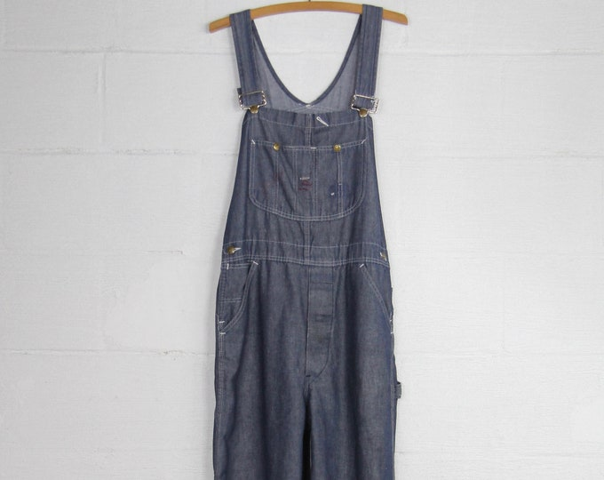 Men's Sears Vintage Distressed/Faded Dark Wash Sears Overalls Soft Size Medium Large