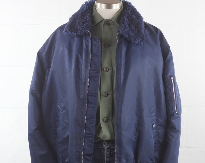Men's Blue Bomber Jacket with Faux Fur Collar XL