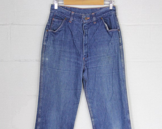 Tagless Dark Wash 70's Cotton Denim Straight Leg Jeans Vintage Size 30