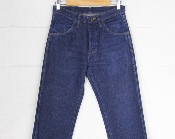 Dark Wash Straight Leg Stove Pipe Vintage Men's Rustler Jeans Size 30x30